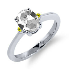 1.63 Ct Oval White Topaz Canary Diamond 14K White Gold Ring