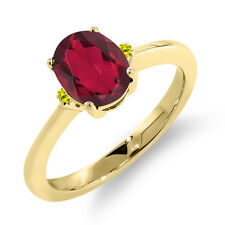 1.63 Ct Oval Red Mystic Topaz Canary Diamond 14K Yellow Gold Ring