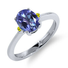 1.63 Ct Oval Purple Blue Mystic Topaz Canary Diamond 14K White Gold Ring