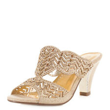 WOMENS METALLIC DECORATIVE SLIP ON PARTY WEDDING MULES SHOES SANDALS SIZE