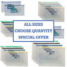 12 x STRONG PLASTIC ZIPPY BAGS Clear File Storage Document Folder Holiday Wallet