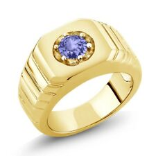 0.46 Ct Blue AAA Tanzanite 925 Yellow Gold Plated Silver Men's Solitaire Ring