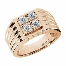 0.60 Ct Round G/H SI2/I1 Diamond 14K Rose Gold Men's Ring