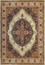 Ivory Floral Medallion Oriental Runner Round Area Rug Persian Border Carpet