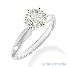 1.00 ct Round Cut Moissanite 6-Prong Solitaire Engagement Ring in 14k White Gold