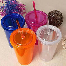500ml Iced Coffee Juice Plastic Drinks Cup With Straw Party Liquid Beaker Lid