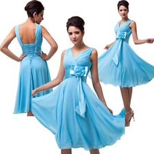 Sky Blue Sweet Chiffon Bridesmaid Wedding Party Prom Dress With Fixed satin sash
