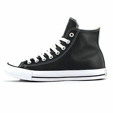 Converse All Star Hi Chuck Taylor Leather Black/White Trainers Shoes