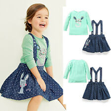 2PC Set Girls Kids Princess Rabbit Tops+Stars Overalls Dresses Skirts Outfits