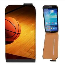 Basketball on Wooden Court Leather Flip Case for Samsung S4