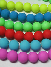 "Bright Neon 6mm Round Glass Beads 16"" U Choose 10 Great Colors"