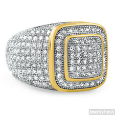 18k Gold Finish 360 Cubic Zirconia Mens Iced Out Championship Ring