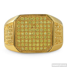 18K Gold Canary Yellow Octagon Cubic Zirconia Iced Out Mens Ring