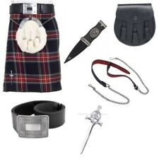 Black Stewart 5 Yard Budget Kilt Package with Belt, Sporran & Kilt Pin.