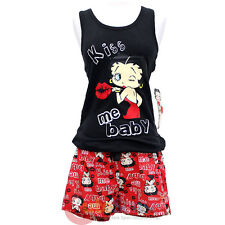 Betty Boop Pajama Set Kiss Me Baby Black Tank Top Red Short Pants - 4 Size