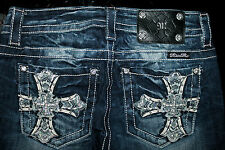 """$108 MISS ME JEANS """"LEATHER SEQUINS RIVETED CROSSES"""" BOOT CUT"""
