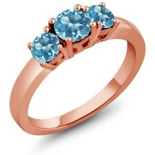 1.26 Ct Round Swiss Blue Topaz 925 Rose Gold Plated Silver Ring