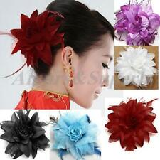 Hair Flower Clip Wedding Fascinator Bridal Accessories Feather Corsage Accessory