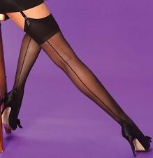 STOCKINGS BLACK OR NUDE SEAMED CUBAN HEEL RETRO VINTAGE LOOK MEDIUM & LARGE SIZE