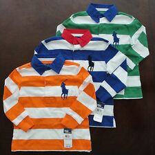 NWT Ralph Lauren Boys LS Striped Big Pony Rugby Shirt SZ 2t 3t 4t NEW $50 5e