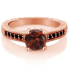 1.67 Ct Red Garnet Black Diamond 925 Rose Gold Plated Silver Engagement Ring