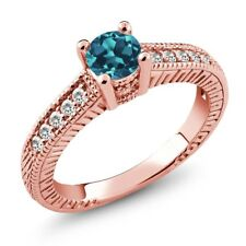 0.65 Ct Round London Blue Topaz White Sapphire 925 Rose Gold Plated Silver Ring