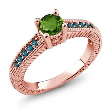 0.67 Ct Round Green Chrome Diopside Blue Diamond 14K Rose Gold Engagement Ring