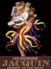 6318.Les bonbons.acquin.woman holding boxes.colored skirt.POSTER.Home Office art