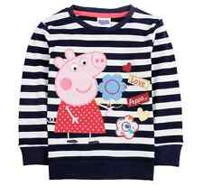 NEW Baby Toddler Peppa Pig Clothing Girl Striped Long Sleeve T shirt Tops 18M-6Y