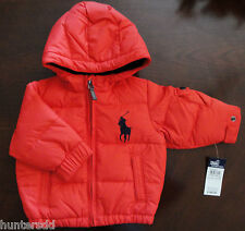 NWT Ralph Lauren Infant Boys Big Pony Down Hooded Jacket Coat 12m $155 NEW 2l