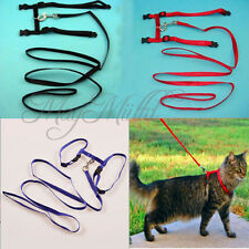 Nylon Pet Cat Kitten Adjustable Harness Lead Leash Collar Belt Safety Rope S