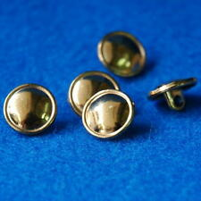 10 Sewing Buttons Craft 12mm Metal Shank Vintage-Like Round Gold Decorations Lot