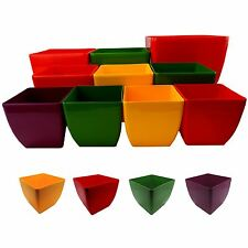PLASTIC QUALITY SQUARE PLANT CACTUS POTS BRIGHT COLOURS MODERN STYLE GARDEN HOME