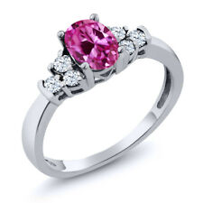 0.84 Ct Oval Pink Created Sapphire White Topaz 18K White Gold Ring