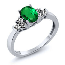 0.60 Ct Oval Green Simulated Emerald White Diamond 18K White Gold Ring