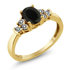 0.59 Ct Oval Black Onyx White Diamond 925 Yellow Gold Plated Silver Ring