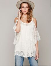 Womens Vintage Hippie Boho People Embroidery Lace Crochet Mini Party Dress - H
