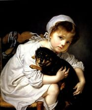 CHILD PLAYING WITH A DOG 1767 FRENCH PAINTING BY JEAN BAPTISTE GREUZE REPRO
