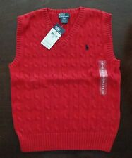 NWT Ralph Lauren Boys Sleeveless Red Cable Sweater Vest 8 10/12 14/16 18/20 5e
