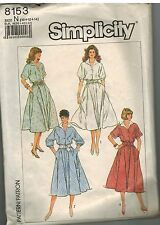 8153 Vintage Simplicity Sewing Pattern Misses Pullover Dress Flared Bias Skirt