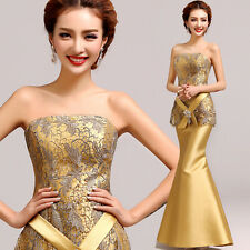 Strapless Golden Evening Prom Party Wedding Fishtail Dress Ball Gown Diamante