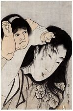 6803.Japanese mother holding daugher.pulling hair.POSTER.art wall decor