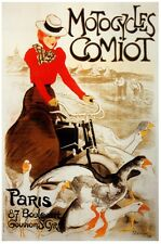 6841.Motocyles comiot.woman riding with mallards.POSTER.art wall decor