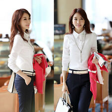 New Women Lady Turn-Down Collar Long Sleeve Career Work OL Blouse Shirt S M L XL