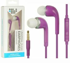 LUX Purple Earphones Hand Free Microphone Headset 3.5mm Earbuds Accessory For LG