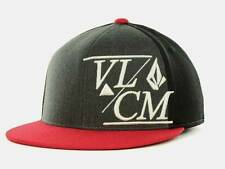 Volcom Stone Modern 210 Fitted Flex Fit Black Red Wool Blend Hat Cap New NWT