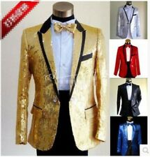 Hot Mens Sequins Slim Fit Lapel Suits Blazers Long Sleeve Formal Coats Jackets