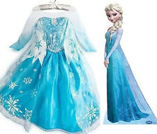 Blue Elsa-3 Disney  Frozen Princess Costume Flower Girls Dresses Age 3.4.5.6.7.8