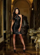Adult Women Plunging Lace-Up Faux Stretch Leather Halter Dress Lingerie
