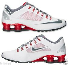 NIKE SHOX SUPER FLY R4 MEN's RUNNING M LEATHER WHITE - GREY - RED NEW ARRIVAL SZ